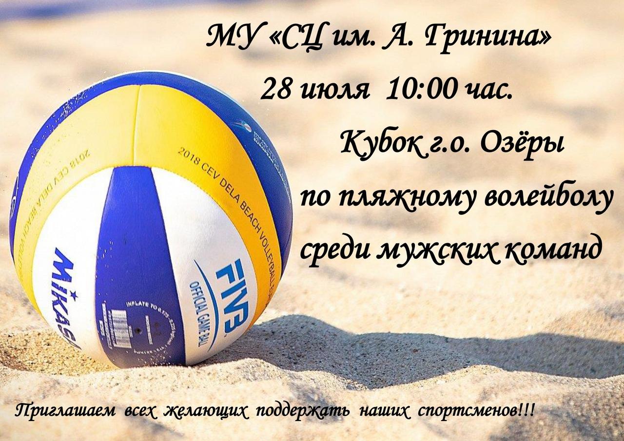 28 июля пройдет кубок городского округа Озеры по пляжному волейболу среди мужских команд.