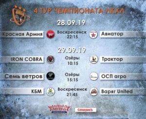 29 сентября пройдут игры 4 тура Чемпионата Любительской Коломенской хоккейной лиги сезона 2019/2020.