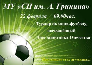 Турнир по мини-футболу, посвященный Дню защитника Отечества.